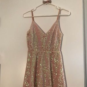 Pink sequins mini dress homecoming